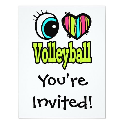 Bright Eye Heart I Love Volleyball Personalized Announcement