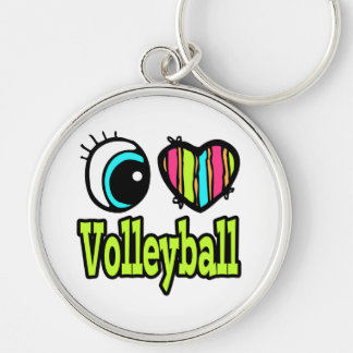 Bright Eye Heart I Love Volleyball Silver-Colored Round Keychain