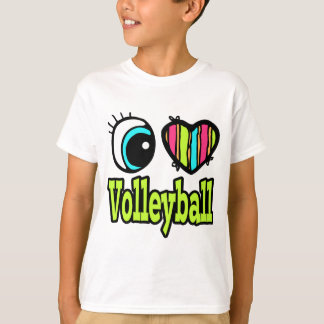 Bright Eye Heart I Love Volleyball T-Shirt