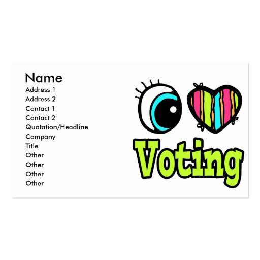 Bright Eye Heart I Love Voting Business Card
