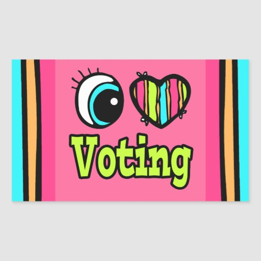 Bright Eye Heart I Love Voting Rectangle Stickers