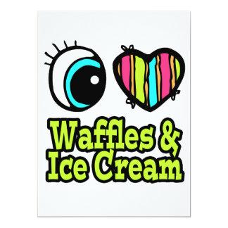 """Bright Eye Heart I Love Waffles and Ice Cream 6.5"""" X 8.75"""" Invitation Card"""