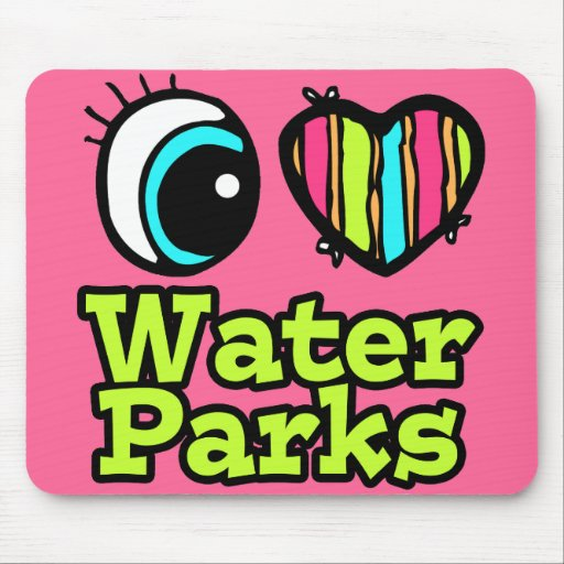 Bright Eye Heart I Love Water Parks Mouse Pads