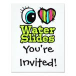 Bright Eye Heart I Love Water Slides 4.25x5.5 Paper Invitation Card