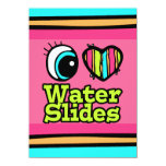 Bright Eye Heart I Love Water Slides 4.5x6.25 Paper Invitation Card