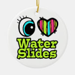 Bright Eye Heart I Love Water Slides Double-Sided Ceramic Round Christmas Ornament