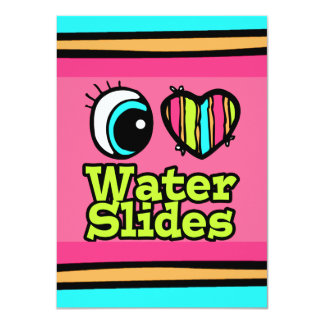 Bright Eye Heart I Love Water Slides 4.5x6.25 Paper Invitation Card