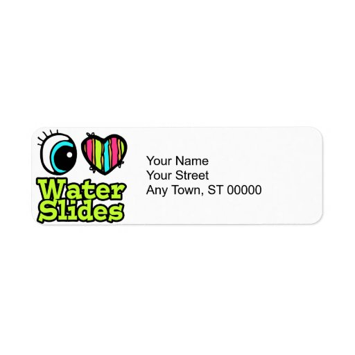Bright Eye Heart I Love Water Slides Label