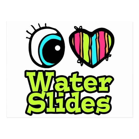 Bright Eye Heart I Love Water Slides Postcard