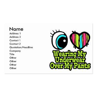 Bright Eye Heart I Love Wearing My Underwear Business Card Templates