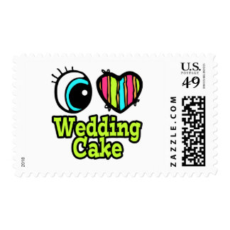 Bright Eye Heart I Love Wedding Cake Stamp