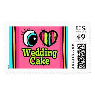 Bright Eye Heart I Love Wedding Cake Postage
