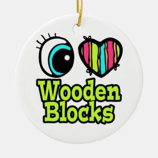 Bright Eye Heart I Love Wooden Blocks Double-Sided Ceramic Round Christmas Ornament