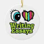 Bright Eye Heart I Love Writing Essays Double-Sided Ceramic Round Christmas Ornament