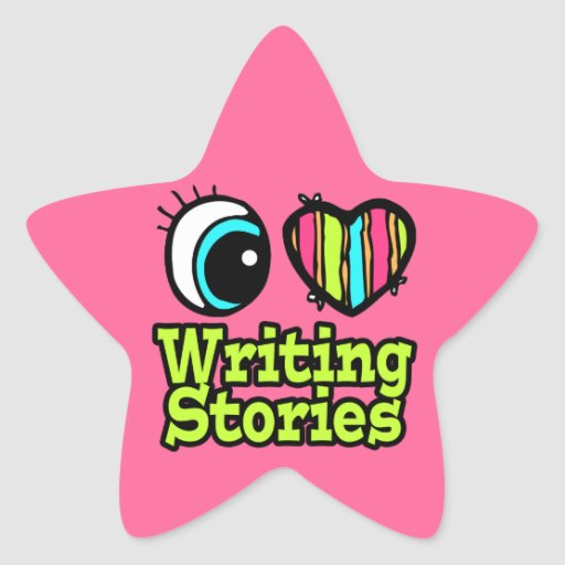 Bright Eye Heart I Love Writing Stories Star Sticker