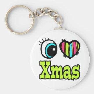 Bright Eye Heart I Love Xmas Keychain