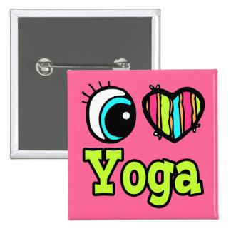 Bright Eye Heart I Love Yoga 2 Inch Square Button