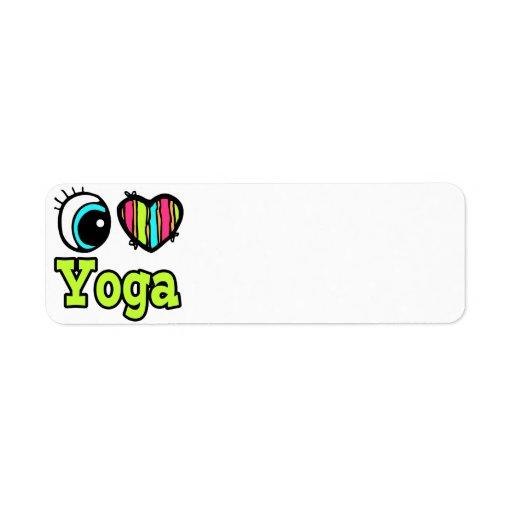 Bright Eye Heart I Love Yoga Return Address Label
