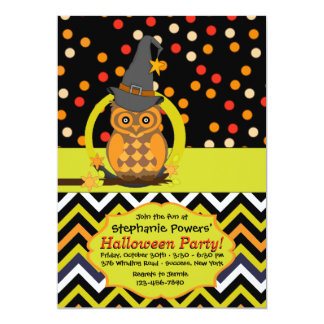 "Bright Eyed Owl Halloween Party Invitation 5"" X 7"" Invitation Card"