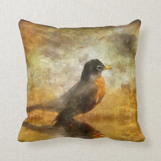 Bright Eyed Robin by Lois Bryan Throw Pillow