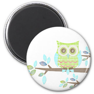 Bright Eyes Owl in Tree 2 Inch Round Magnet
