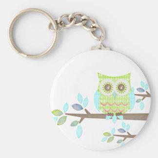 Bright Eyes Owl in Tree Basic Round Button Keychain