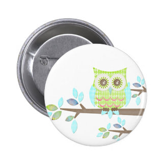 Bright Eyes Owl in Tree Button