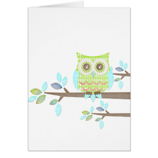 Bright Eyes Owl in Tree Greeting Card