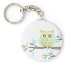 Bright Eyes Owl in Tree Keychain