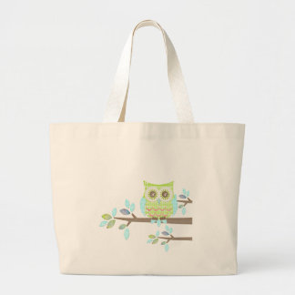 Bright Eyes Owl in Tree Large Tote Bag