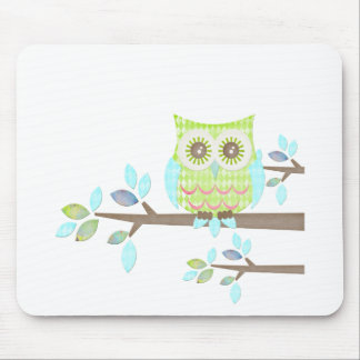 Bright Eyes Owl in Tree Mouse Pad