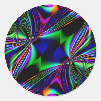 Bright Fabulous Fractal Kaleidoscope design Classic Round Sticker