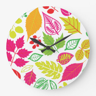 Bright Fall Leaves Round (Large) Wall Clock
