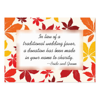 Bright Fall Leaves Wedding Charity Favor Card Large Business Cards (Pack Of 100)
