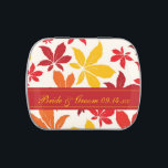 """Bright Fall Leaves Wedding Favor Jelly Belly Candy Tin<br><div class=""""desc"""">Personalize the natural Bright Fall Leaves Wedding Candy Tin to create one of a kind party favors for your September,  October or November autumn bridal shower or marriage reception. This autumnal custom party favor features red,  orange and yellow leaves with a white background.</div>"""