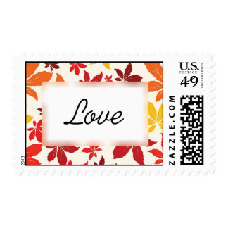 Bright Fall Leaves Wedding Love Postage
