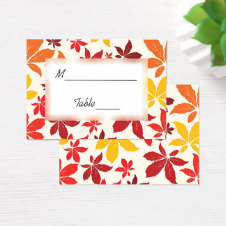 Bright Fall Leaves Wedding Place Card