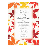 Bright Fall Leaves Wedding Rehearsal Dinner Personalized Invites