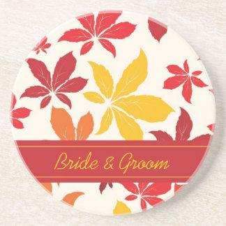Bright Fall Leaves Wedding Sandstone Coaster