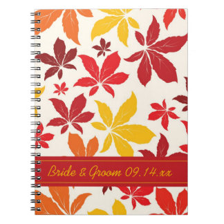 Bright Fall Leaves Wedding Spiral Notebook