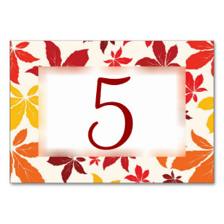 Bright Fall Leaves Wedding Table Numbers Card