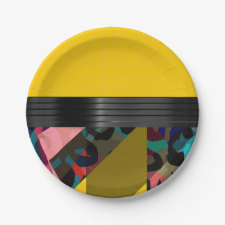 Bright Fancy Yellow Rainbow Cheetah Paper Plate