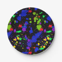 Bright, Faux Neon, Paint Splatter Pattern Paper Plate