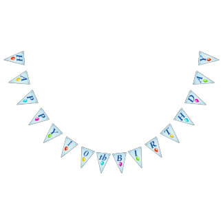 Bright Festive Happy Birthday Balloons on Blue Bunting Flags