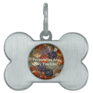 Bright Festive Marble Pattern Pet Name Tags