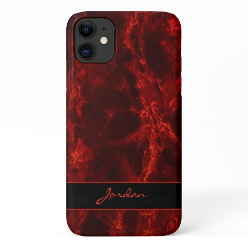 Bright Fire Red Polished Marble Stone with Name iPhone 11 Case