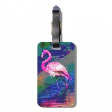 Beach Themed Bright Flamingo Luggage Tag