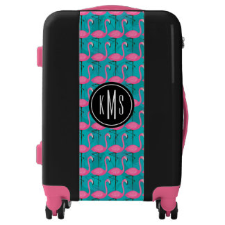 Bright Flamingo Pattern | Add Your Initial Luggage