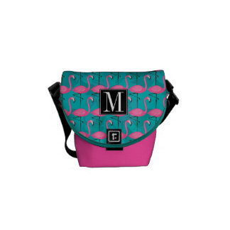 Bright Flamingo Pattern   Add Your Initial Messenger Bag