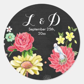 Bright Floral Chalkboard | Round Sticker